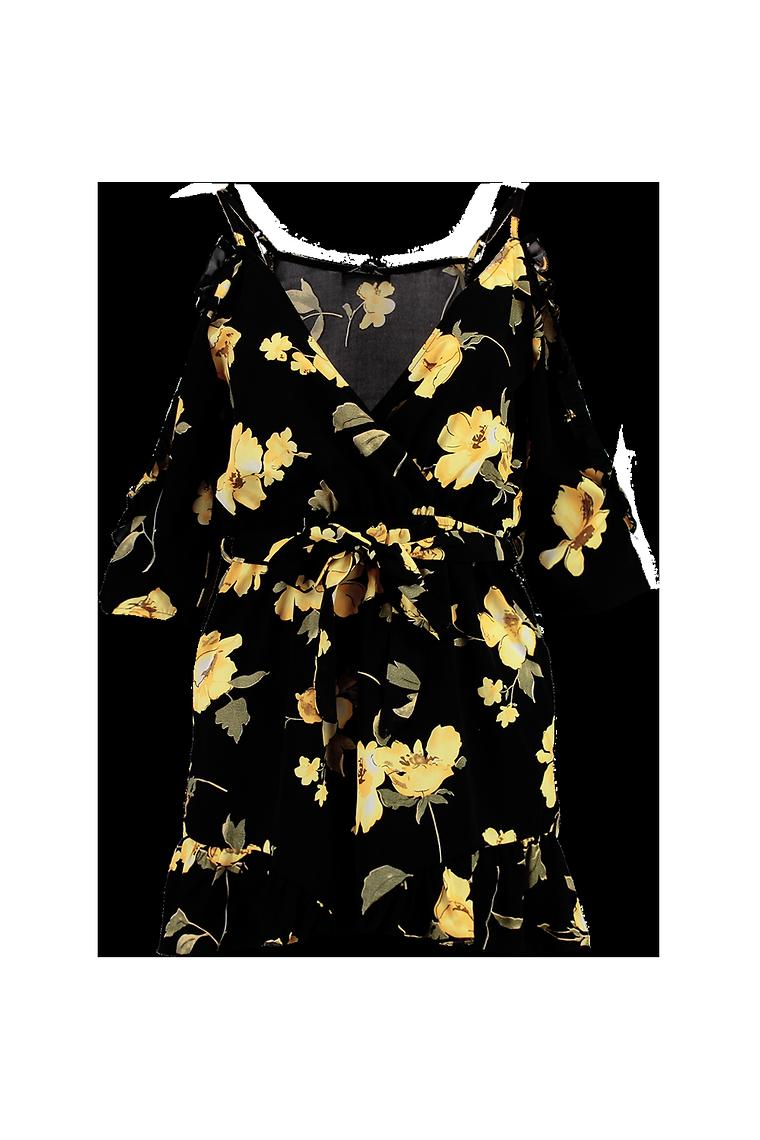 Floral Open Shoulder Playsuit >